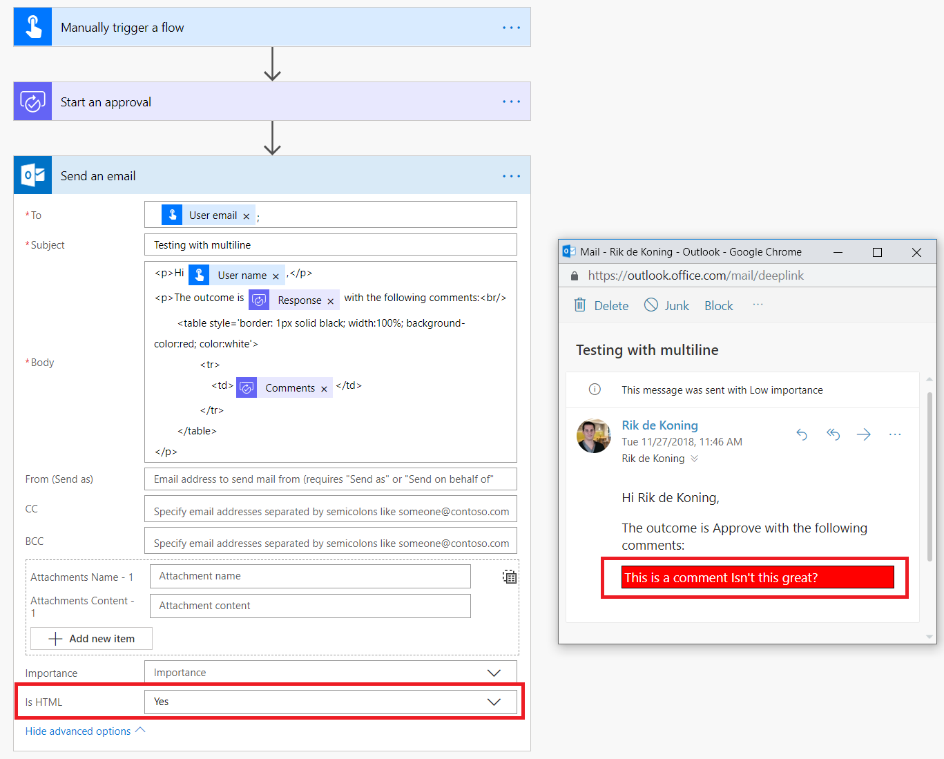 Line breaks in PowerApps multiline inputs and Flow approval