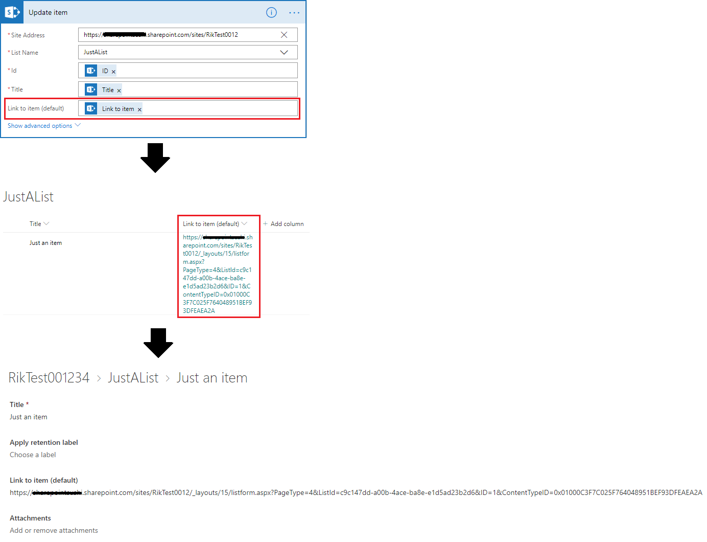 Redirect 'Link to item' URL from-out Microsoft Flow to