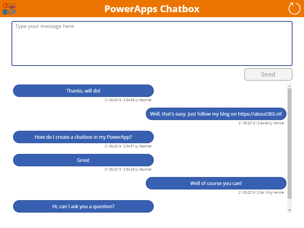 Create a PowerApps chatbox to communicate about SharePoint items