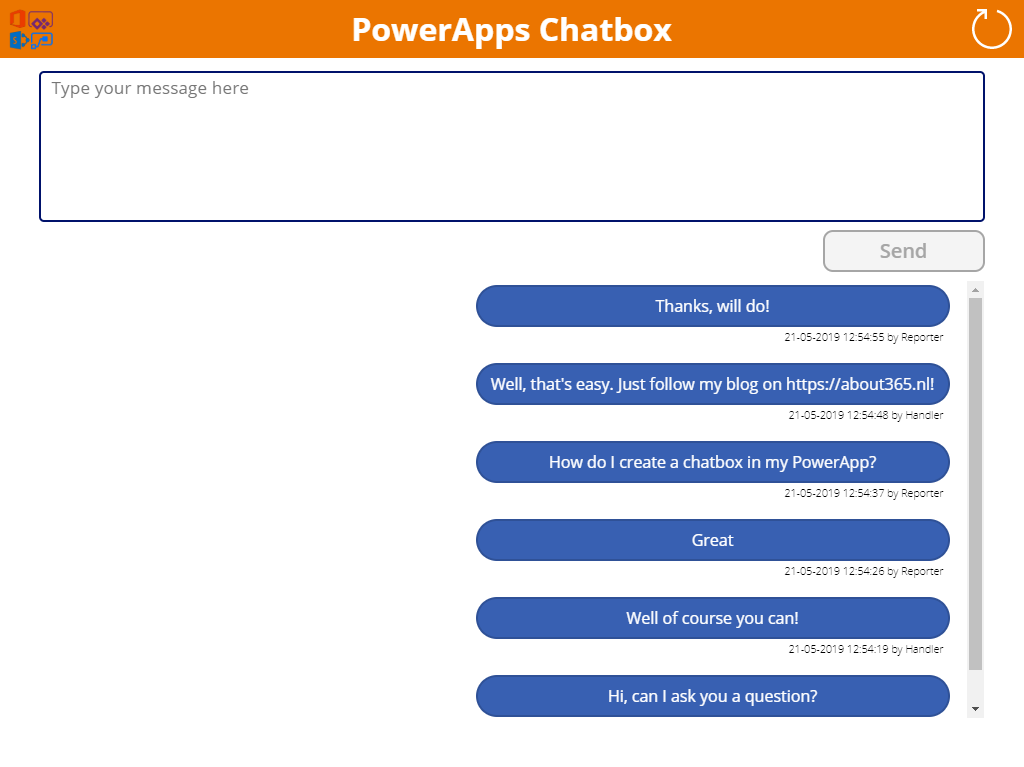 Create a PowerApps chatbox to communicate about SharePoint